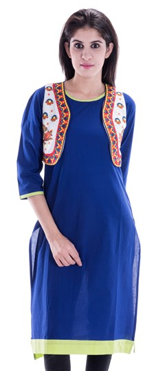 450661 Blue  color family Printed Kurtis in Cotton fabric with Printed work .