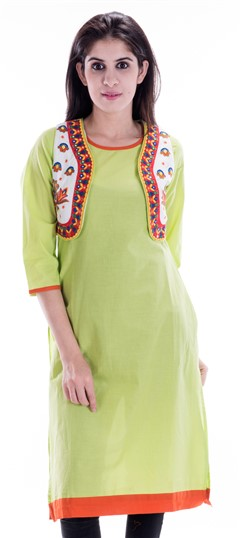 450663 Green  color family Printed Kurtis in Cotton fabric with Printed work .