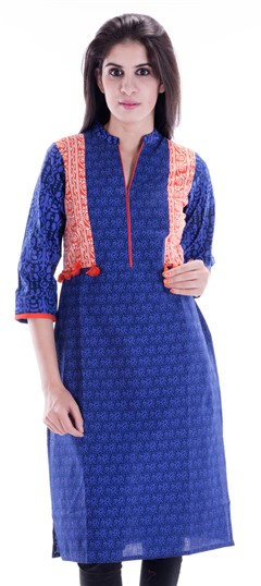 450665 Blue  color family Printed Kurtis in Cotton fabric with Printed work .