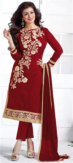 452115 Red and Maroon  color family Bollywood Salwar Kameez in Chanderi,Cotton fabric with Lace,Machine Embroidery work .