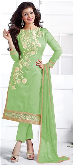 452118 Green  color family Bollywood Salwar Kameez in Chanderi,Cotton fabric with Lace,Machine Embroidery work .