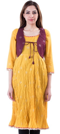 453643 Yellow  color family Cotton Kurtis,Kurti in Cotton fabric with Lace,Printed work .