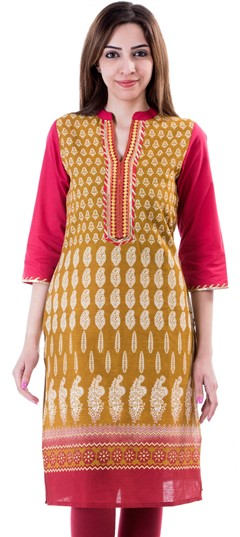 453645 Beige and Brown  color family Cotton Kurtis,Kurti in Cotton fabric with Printed work .