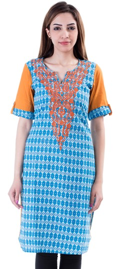 453646 Blue  color family Cotton Kurtis,Kurti in Cotton fabric with Machine Embroidery,Printed work .