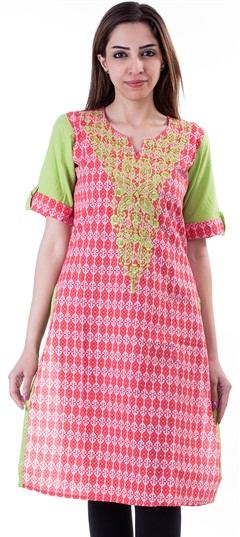 453647: Casual Pink and Majenta color Kurti in Cotton fabric with Embroidered, Printed work