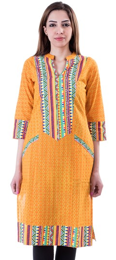 453648 Yellow  color family Cotton Kurtis,Kurti in Cotton fabric with Printed work .