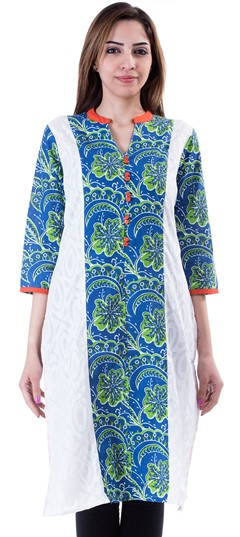453650 Blue,White and Off White  color family Cotton Kurtis,Kurti in Cotton fabric with Printed work .