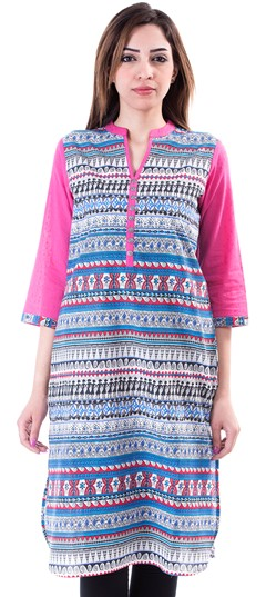 453660 Blue,Pink and Majenta  color family Cotton Kurtis,Kurti in Cotton fabric with Printed work .