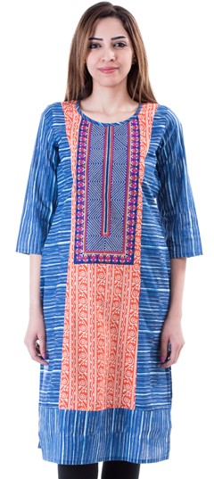 453662 Multicolor  color family Cotton Kurtis,Kurti in Cotton fabric with Printed work .