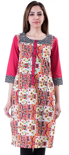 453666 Multicolor  color family Cotton Kurtis,Kurti in Cotton fabric with Printed work .