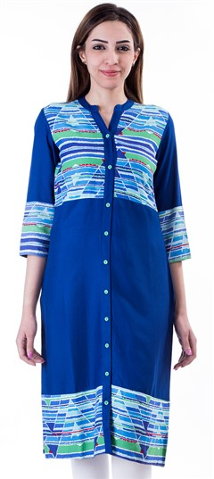 453668 Blue  color family Cotton Kurtis,Kurti in Cotton fabric with Printed work .