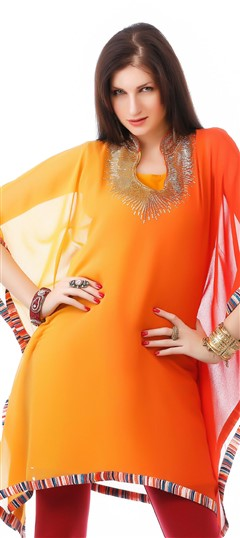 453884 Orange, Yellow  color family Kurti in Faux Georgette fabric with Sequence work .
