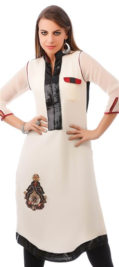 453904 White and Off White  color family Kurti in Faux Georgette fabric with Machine Embroidery, Patch, Stone work .