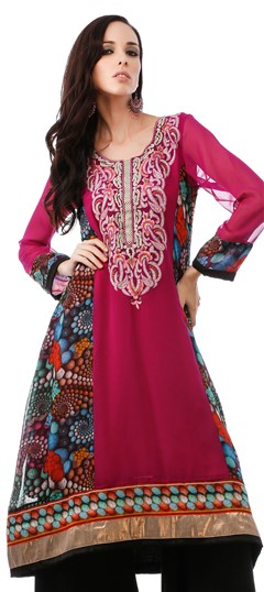 453906 Blue, Pink and Majenta  color family Kurti, Printed Kurtis in Faux Georgette fabric with Lace, Machine Embroidery, Printed, Stone work .