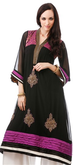 453907 Black and Grey  color family Kurti in Faux Georgette fabric with Machine Embroidery, Patch, Stone work .
