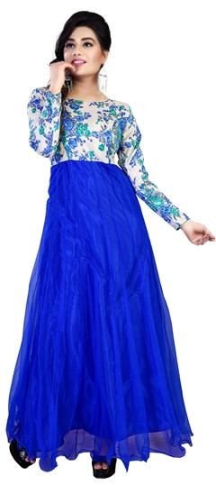 454709 Blue  color family gown in Net fabric with Printed work .
