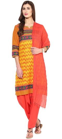 455924 Multicolor  color family Cotton Salwar Kameez, Printed Salwar Kameez in Cotton fabric with Printed work .