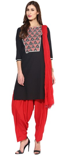 455925 Black and Grey  color family Cotton Salwar Kameez, Printed Salwar Kameez in Cotton fabric with Tye n Dye work .