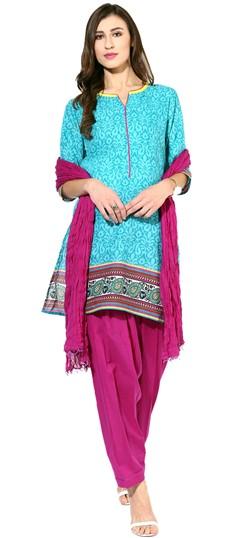 455931 Blue  color family Cotton Salwar Kameez, Printed Salwar Kameez in Cotton fabric with Printed work .
