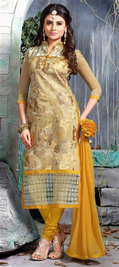 456308 Beige and Brown  color family Party Wear Salwar Kameez in Chanderi, Cotton fabric with Lace, Machine Embroidery, Resham, Thread work .