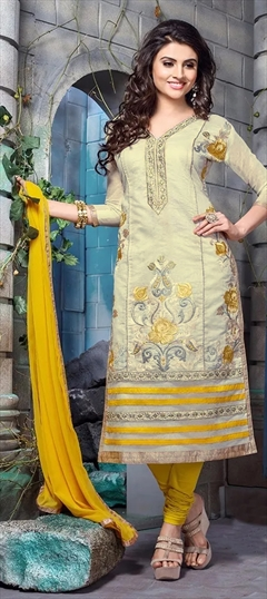 456312 White and Off White  color family Party Wear Salwar Kameez in Chanderi,Cotton fabric with Lace,Machine Embroidery,Resham,Thread work .