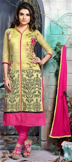 456313 Yellow  color family Party Wear Salwar Kameez in Chanderi,Cotton fabric with Lace,Machine Embroidery,Resham,Thread work .