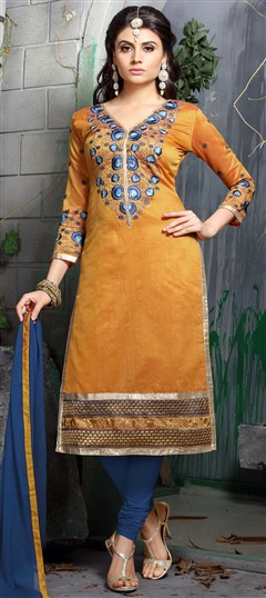 456318 Yellow  color family Party Wear Salwar Kameez in Chanderi, Cotton fabric with Lace, Machine Embroidery, Resham, Thread work .