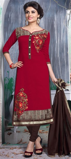 456320 Red and Maroon  color family Party Wear Salwar Kameez in Chanderi,Cotton fabric with Lace,Machine Embroidery,Resham,Thread work .
