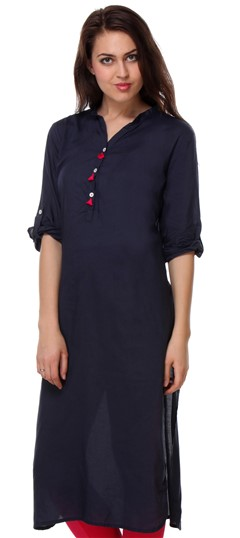 456431 Blue  color family Kurti in Rayon fabric with Thread work .