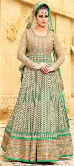 457972 Green  color family Anarkali Suits in Net fabric with Lace,Machine Embroidery,Patch,Resham,Thread,Zari work .