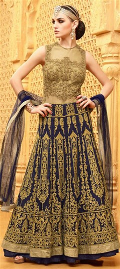 457973 Beige and Brown,Blue  color family Anarkali Suits in Net fabric with Lace,Machine Embroidery,Patch,Resham,Thread,Zari work .
