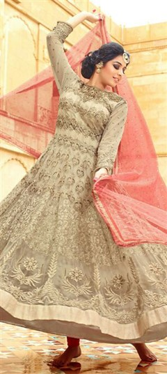 457974 Beige and Brown  color family Anarkali Suits in Net fabric with Lace,Machine Embroidery,Patch,Resham,Thread,Zari work .