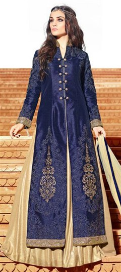 457975 Blue  color family Party Wear Salwar Kameez in Net fabric with Lace,Machine Embroidery,Patch,Resham,Thread,Zari work .