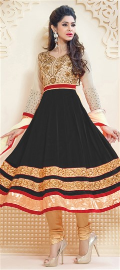 459307 Beige and Brown, Black and Grey  color family Anarkali Suits in Faux Georgette fabric with Border, Patch, Resham, Zari work .