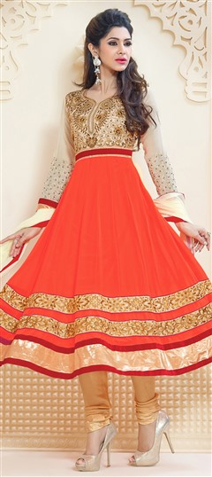 459308 Beige and Brown,Orange  color family Anarkali Suits in Faux Georgette fabric with Border,Patch,Resham,Zari work .