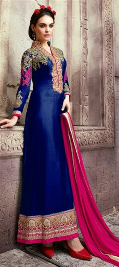 459797 Blue  color family Party Wear Salwar Kameez in Faux Georgette fabric with Lace,Machine Embroidery,Thread work .