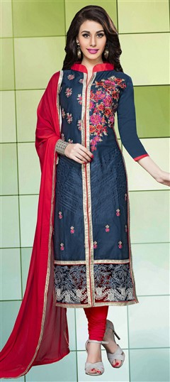 459835 Blue  color family Cotton Salwar Kameez, Party Wear Salwar Kameez in Cotton fabric with Lace, Machine Embroidery, Resham, Thread work .