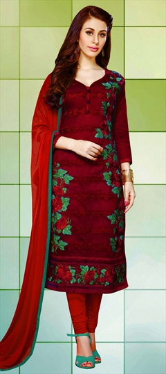 459838 Red and Maroon  color family Cotton Salwar Kameez, Party Wear Salwar Kameez in Cotton fabric with Lace, Machine Embroidery, Resham, Stone, Thread work .