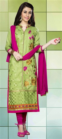 459839 Green  color family Cotton Salwar Kameez, Party Wear Salwar Kameez in Cotton fabric with Lace, Machine Embroidery, Resham, Thread work .