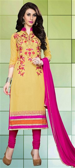 459841 Yellow  color family Cotton Salwar Kameez, Party Wear Salwar Kameez in Cotton fabric with Lace, Machine Embroidery, Resham, Thread work .