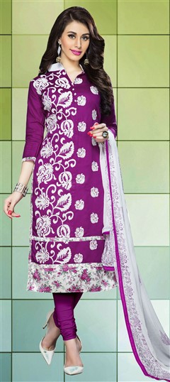 459846 Purple and Violet  color family Cotton Salwar Kameez,Party Wear Salwar Kameez in Cotton fabric with Lace,Machine Embroidery,Resham,Thread work .