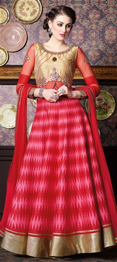 465306 Beige and Brown, Pink and Majenta  color family Anarkali Suits in Silk fabric with Mirror, Patch, Printed work .