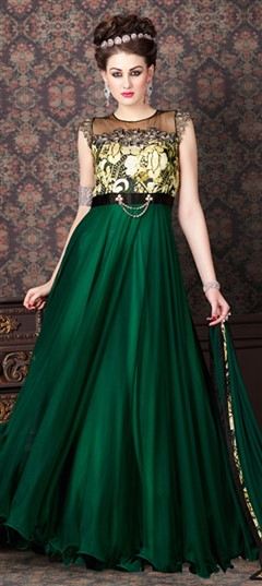 465308 Green  color family Anarkali Suits in Net fabric with Machine Embroidery, Moti, Zari work .