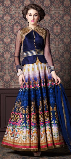 465309 Beige and Brown, Blue  color family Party Wear Salwar Kameez in Silk fabric with Machine Embroidery, Printed, Zari work .