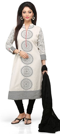 466140 White and Off White  color family Cotton Salwar Kameez,Party Wear Salwar Kameez,Printed Salwar Kameez in Cotton fabric with Printed work .
