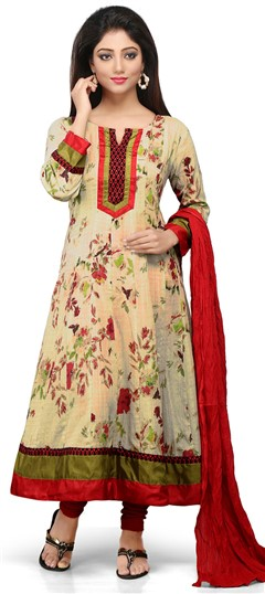466145 Beige and Brown  color family Anarkali Suits,Cotton Salwar Kameez,Printed Salwar Kameez in Cotton fabric with Lace,Printed work .