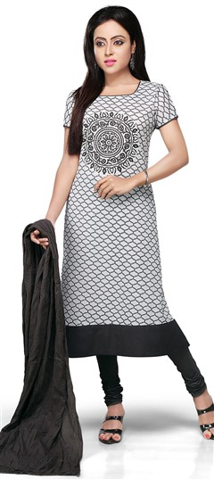 466153 Black and Grey, White and Off White  color family Cotton Salwar Kameez, Party Wear Salwar Kameez, Printed Salwar Kameez in Cotton fabric with Printed work .