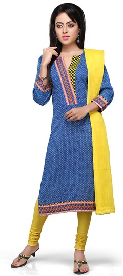 466155 Blue  color family Cotton Salwar Kameez, Party Wear Salwar Kameez, Printed Salwar Kameez in Cotton fabric with Printed work .