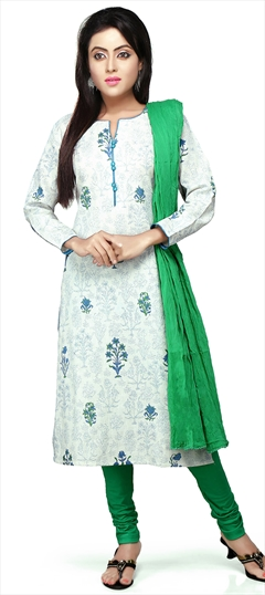 466157 White and Off White  color family Cotton Salwar Kameez, Party Wear Salwar Kameez, Printed Salwar Kameez in Cotton fabric with Printed work .