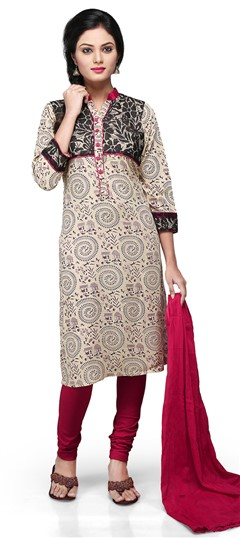 466158 Beige and Brown  color family Party Wear Salwar Kameez, Printed Salwar Kameez in Brasso, Rayon fabric with Printed work .